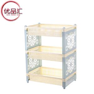 优品汇 置物架 创意多功能双层收纳杂物储物日式风格三层家居厨房客厅用品办公桌多层整理架子