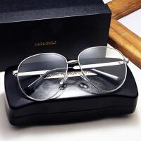 潮复古大框眼镜框眼睛镜架素颜平光镜防辐射近视眼镜男 银色 大号