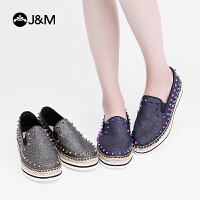 jm快乐玛丽2019春季新款平底休闲鞋渔夫鞋一脚蹬帆布鞋女鞋
