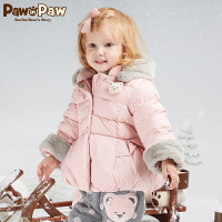 【3件4.5折 到手价:494】Pawinpaw卡通小熊童装冬女宝宝印花羽绒服中小童白鸭绒
