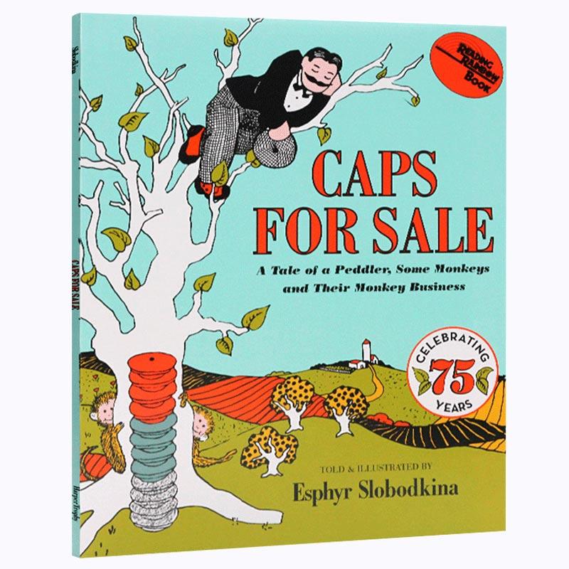 英文原版童书Caps for Sale卖帽子进口绘本韵文吴敏兰推荐书单百本书单#72 HarperCollins出版社儿童英语辅导睡前故事图画书送音频
