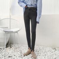 个性缺口修身显瘦弹力小脚裤铅笔裤女韩版春装学生百搭牛仔裤长裤