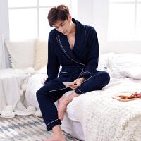 秋情侣纯棉睡袍女长袖全棉日式浴衣两件套睡衣浴袍男家居服套装
