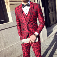 新品18春季款男士潮流提花婚礼拍照西服三件套装韩版修身青年西装