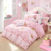 水星家纺全棉印花卡通三/四件套双人床单被套1.8米月半弯床上用品