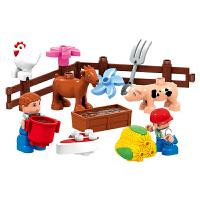 积木玩具大颗粒拼装小农场儿童拼插式1-2-3周岁