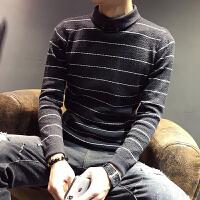 韩版男装条纹修身针织衫打底衫潮秋冬男士翻领毛衣半高领