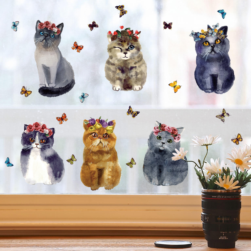 儿童房卧室装饰品墙贴纸个性猫猫宠物店铺走廊玄关墙贴画自粘