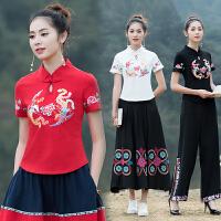 实拍夏季新款中国风短袖修身T恤 加加大码 民族风绣花上衣