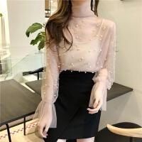 春季韩版时尚甜美蝴蝶结喇叭袖吊带蕾丝网纱打底衫两件套装上衣女 均码