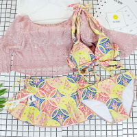 性感泳衣女士大码分体裙式三件套长袖温泉韩国小香风小胸聚拢泳装 粉红色