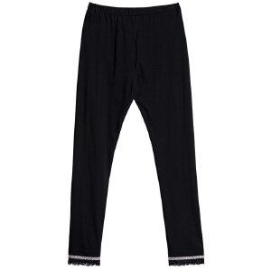 熙世界薄款打底裤女外穿2019夏季新款民族织带蕾丝边显瘦黑色裤子