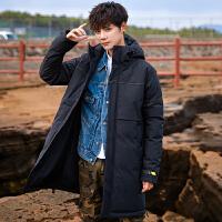 男士外套韩版潮流帅气修身百搭棉衣中长款棉袄加绒加厚冬季棉服