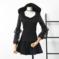 【满】13 秋季韩版新品纯色圆领拼接蕾丝袖修身上衣