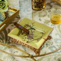 欧式家居装饰品摆件 乌兰妮花鸟绿色陶瓷彩绘方形烟灰缸