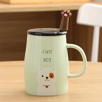 创意陶瓷马克杯可爱卡通情侣水杯早餐杯牛奶咖啡麦片杯带盖勺