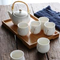手工描金 景德镇提梁陶瓷茶具套装家用现代简约茶壶茶杯送托盘
