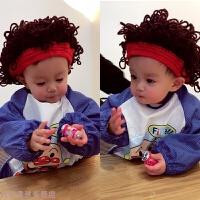 冬季男女宝宝毛线爆炸头针织帽帅气短发假发婴儿帽秋冬新款 均码