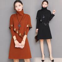 2017秋冬新款时尚气质假两件连衣裙针织高领长袖套装毛衣裙子女装