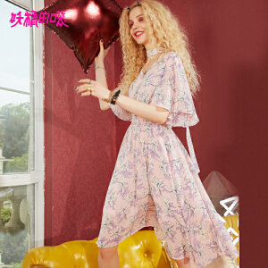 【秒杀价:172】妖精的口袋a字裙子新款v领原宿荷叶袖chic雪纺连衣裙女