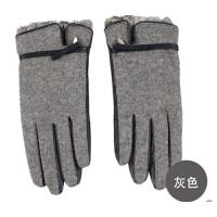 女士时尚秋冬兔毛手套羊皮手套优雅真皮手套冬季女士手套