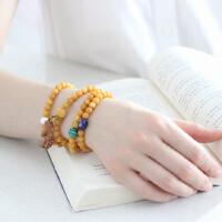 民族风手链珠子饰品天然水晶黄玉孔雀石桃木多圈珍珠手串女礼物