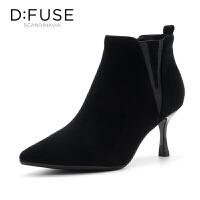 迪芙斯(D:FUSE)冬季绒面羊皮革拼色高跟女短靴 DF84116028