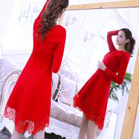 红色连衣裙秋冬款2018新款女礼服长袖高腰中长款蕾丝小个子连衣裙