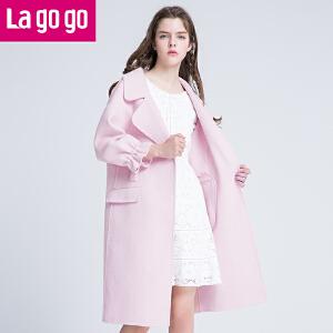 Lagogo喇叭袖外套2017春季新款粉色七分袖韩版中长款显瘦羊毛大衣