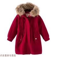 冬季女童呢子大衣2018新款韩版洋气中大童秋冬毛呢外套中长款儿童羊绒秋冬新款 红色