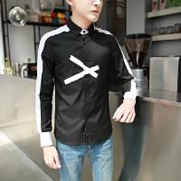 新款秋季拼色男士长袖衬衫韩版帅气矮个子休闲衬衣潮S码160青少