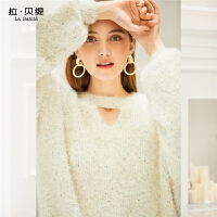 【2件2折】【参考到手价:58元】拉夏贝尔针织衫女新款韩版宽松套头镂空长袖毛衣上衣学生打底衫
