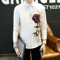 慈姑韩版时尚长袖衬衣男士印花修身衬衫学生潮流个性白寸杉男春夏季薄款