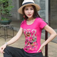 中国风绣花上衣 夏装新款民族风女装短袖T恤修身圆领绣花打底衫女