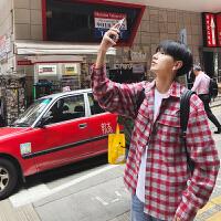 BANGBOY 经典港风红色工装格子衬衫潮男2018春外套bf风休闲衬衣