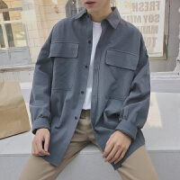 日系复古男士春季宽松衬衫韩版潮流大口袋长袖衬衣寸衫林弯弯新款