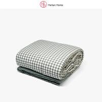深绿格纹水洗棉被200×230cm Heilan Home/海澜优选生活馆