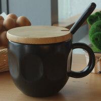 陶瓷马克杯子带盖勺咖啡杯情侣水杯 北欧大口办公室男女早餐杯惊喜的创意礼物节日礼品