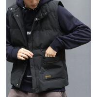 立领棉马甲男装日系复古休闲宽松黑色无袖外套加厚冬季背心 黑色