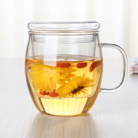 大肚杯耐热花茶玻璃杯带盖过滤水杯子500ml玻璃杯水杯带盖杯子透明花茶杯带盖泡茶杯茶杯子