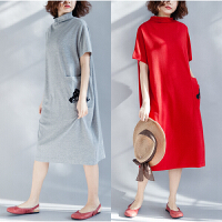 原创设计师品牌女装春夏季新款高领短袖大码宽松连衣裙长款