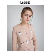 Lagogo/拉谷谷2019年冬季新款时尚学院风长袖针织衫HCMM419A23