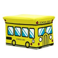 儿童玩具收纳凳储物凳子可坐人衣服收纳箱盒多功能宝宝卡通整理箱 大号黄色巴士