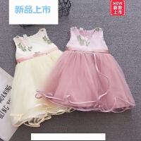 女童夏季0连衣裙1-3岁宝宝公主裙时尚花朵背心裙婴儿童白蓬蓬纱裙