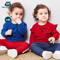 【129元任选3】迷你巴拉巴拉婴儿毛衣2019春装新品纯棉针织衫男女宝宝套头毛衫