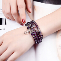 水晶女款黑曜石紫水晶黄手链108颗佛珠手串