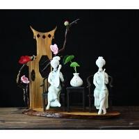 新中式瓷器人物陶瓷仕女家居书房电视柜禅意摆设工艺饰品软装摆件 仕女 套装