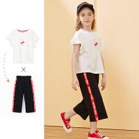 【2件3折:105】巴拉巴拉旗下女童樱桃套装儿童运动阔腿裤2020夏装新款短袖t恤女