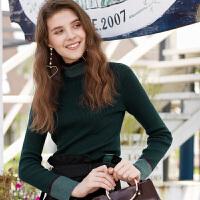 冬装新品 木耳边高领修身长袖套头针织毛衫女D746388