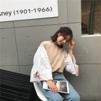 秋季韩版学院风宽松短款套头韩范百搭灯笼长袖衬衫衬衫女学生上衣 均码 (160/84A)